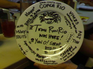 our Team Run Rio plate - yun oh!