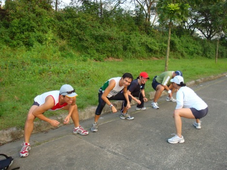 we had our stretching exercises after the 2.8kms warm-up