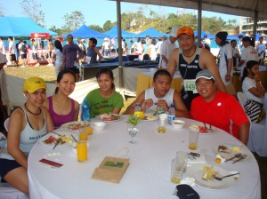 at the Buffet Brunch with girl runners and boy mtbikers