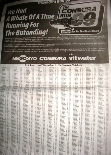 21k Race Results covered one whole page