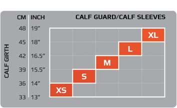 2XU compression calf guard size chart