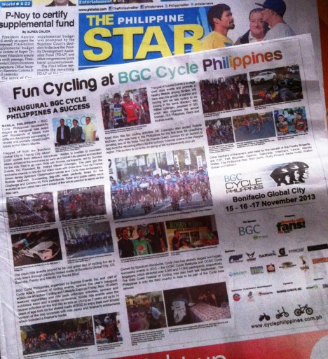the BGC Cycle Phils post-event release on today's Philippine Star newspaper the story and photo captions of which were written by me :)