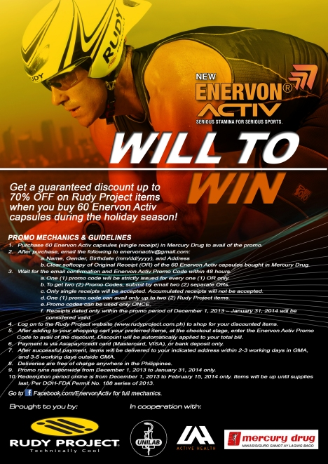 Enervon Activ Will to Win Promo - A4 POSTER