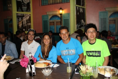 the Under Armour Philippines brand ambassadors during the pre-ceremony lunch (l-r: Piolo Pascual, Natasha Alquiros, Harry Morris, Yohann