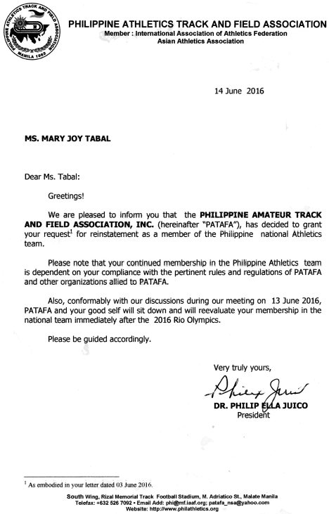 patafa letter to Tabal June 14, 2016